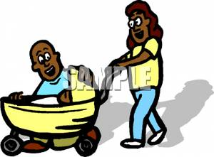 300x221 A Colorful Cartoon Of A Dad And Mom With Their Baby In A Stroller