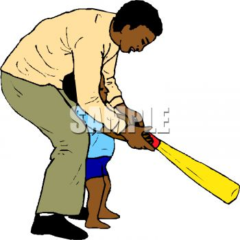 350x350 African American Dad Showing His Little Son How To Use A Bat