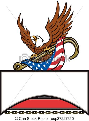 344x470 American Eagle Clutching Towing J Hook Flag Retro . Vector Clip