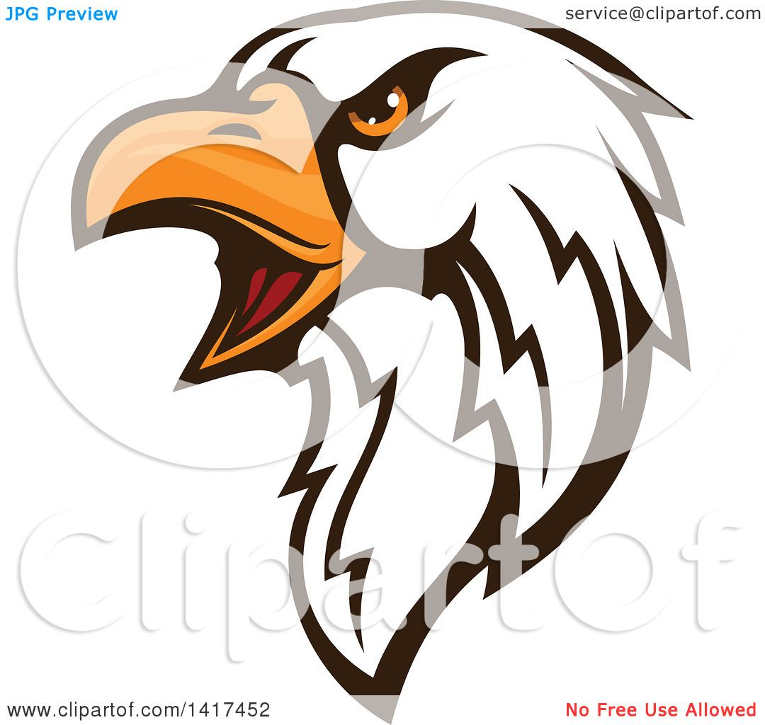 1080x1024 Clipart Of A Firece Bald Eagle Head With Orange Eyes