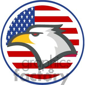 300x300 Eagle With American Flag Clipart