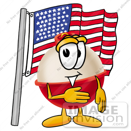 450x450 Clip Art Graphic Of A Fishing Bobber Cartoon Character Pledging