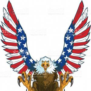 300x300 Screaming Eagle With American Flag Wings Vector Clip Art Gm