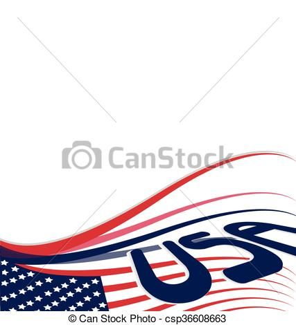 427x470 Usa American Flag Background Illustration Vector. Blank Copy