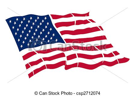 450x320 American Flag, Color Illustration Drawing
