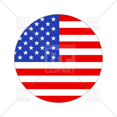 400x400 Round Icon Of Usa Flag On White Background Royalty Free Vector