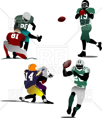 347x400 American Football Players In Action Royalty Free Vector Clip Art
