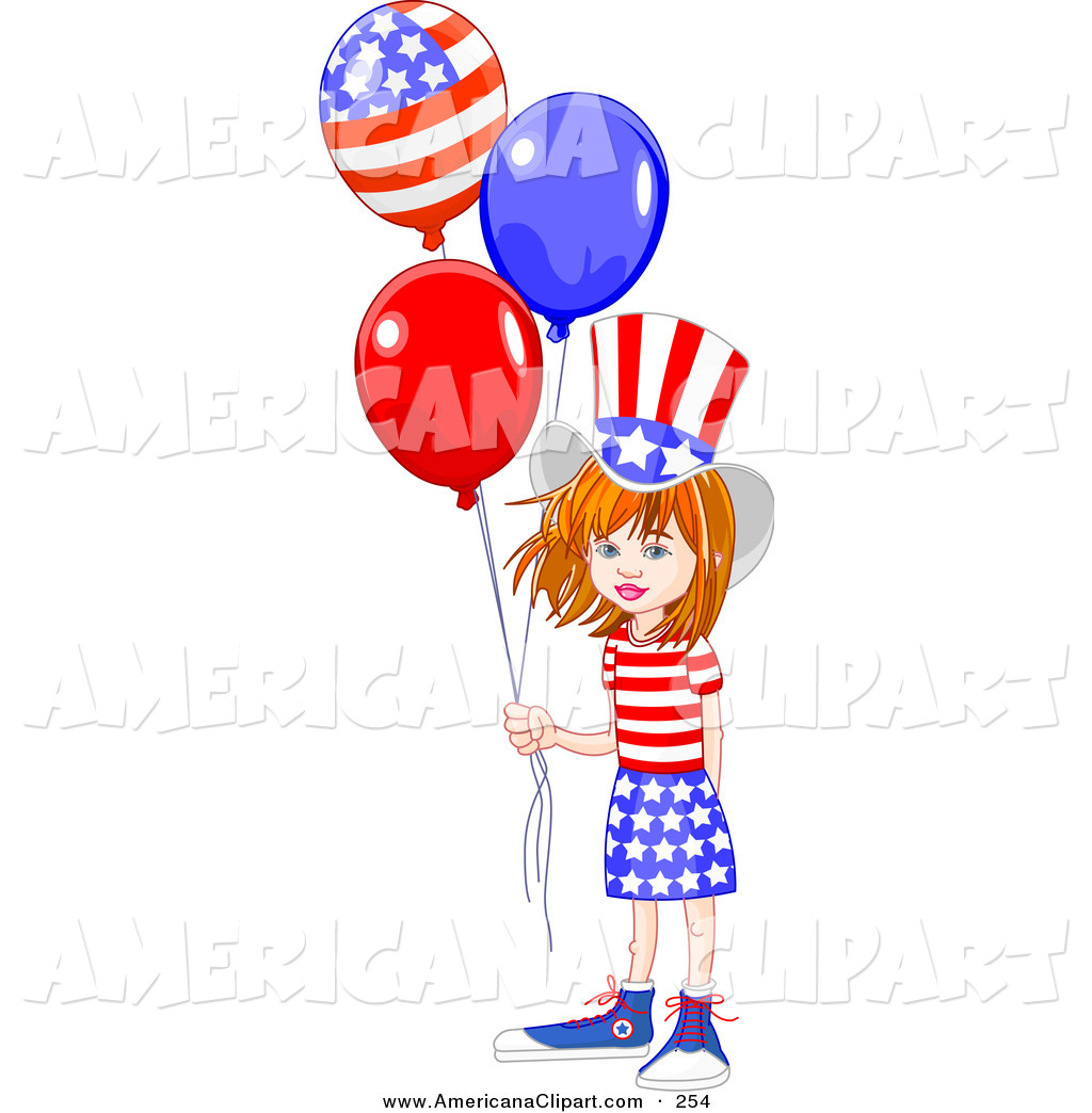 1024x1044 Americana Vector Clip Art Of A Smiling American Girl Wearing