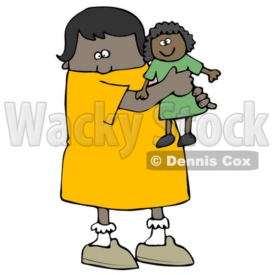 400x400 Little African American Girl Child Holding And Hugging Her Doll