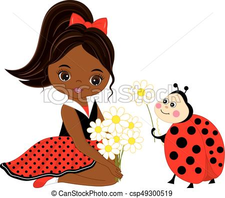 450x397 Vector Cute Little African American Girl With Ladybug