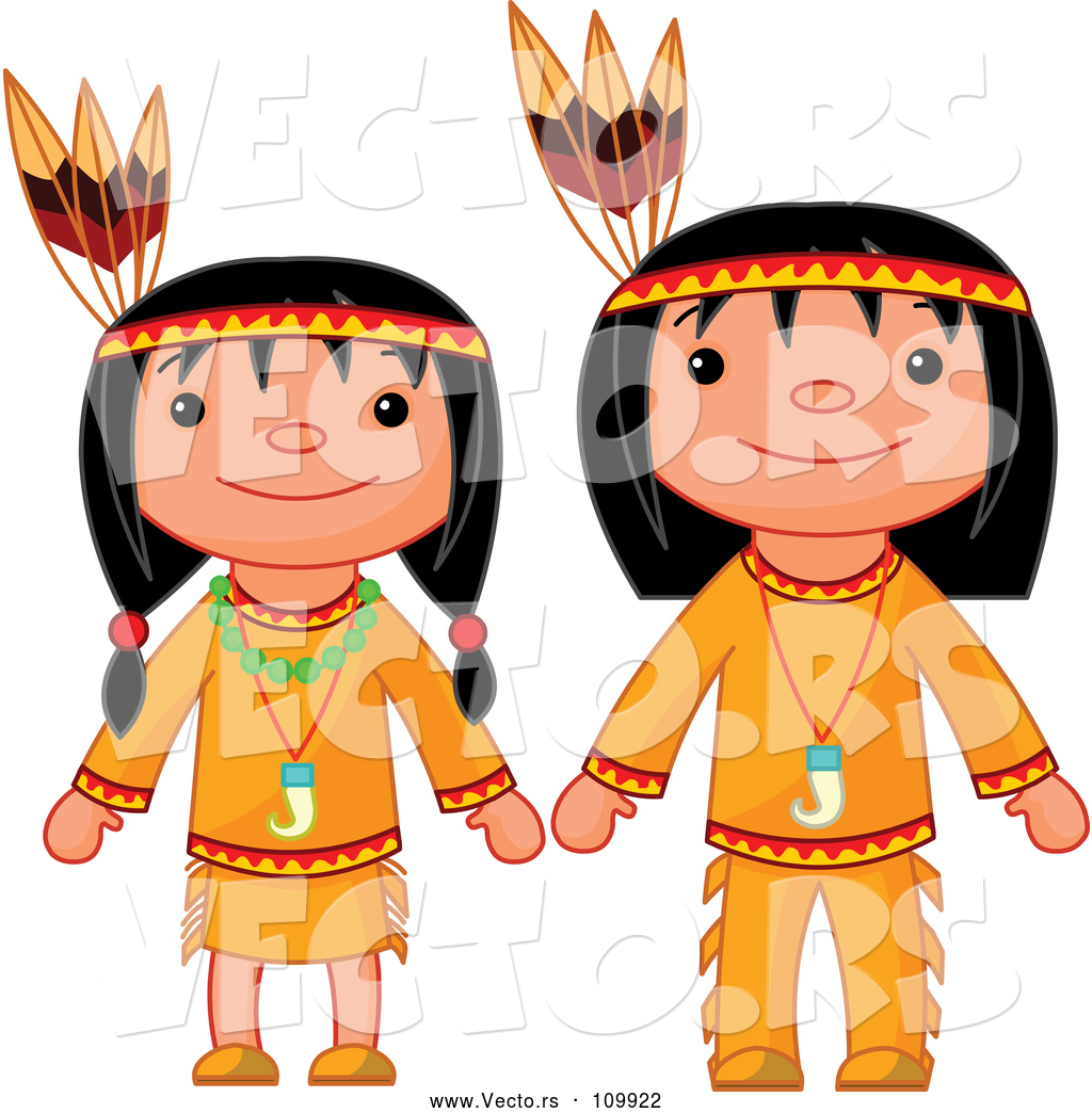 1024x1044 Vector Of Thanksgiving Native American Girl And Boy By Pushkin