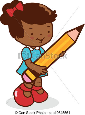 349x470 A Cute African American Girl Student Holding A Big Pencil. Clip