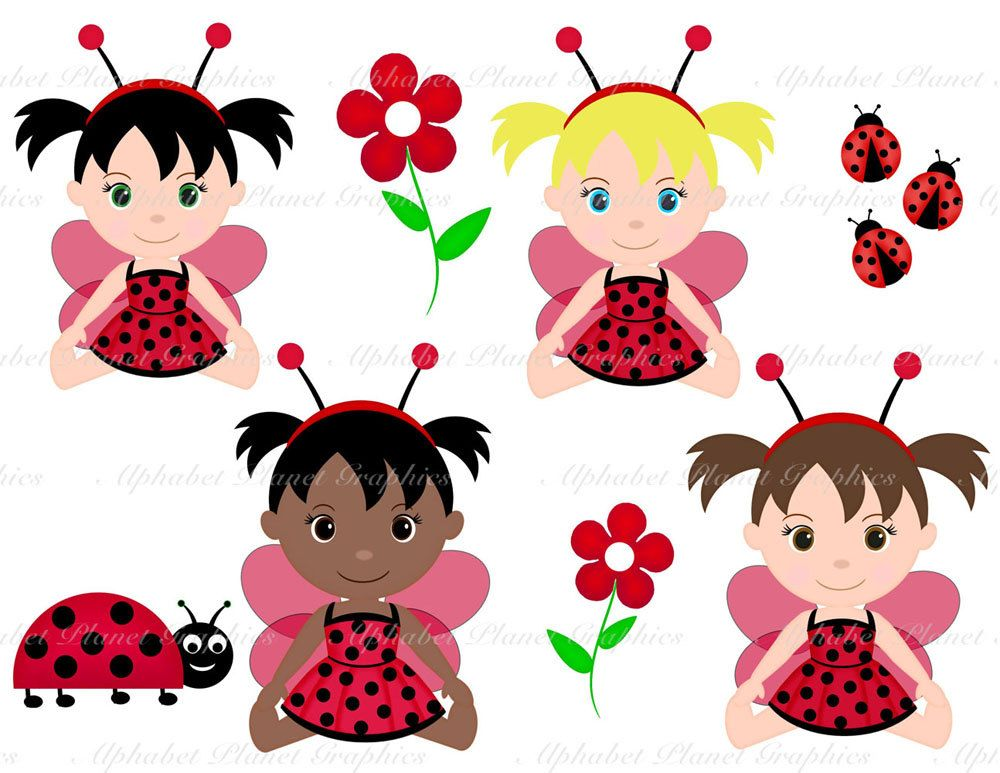 1000x773 Ladybug, Lady Bug Baby Girl African American Caucasion Digital