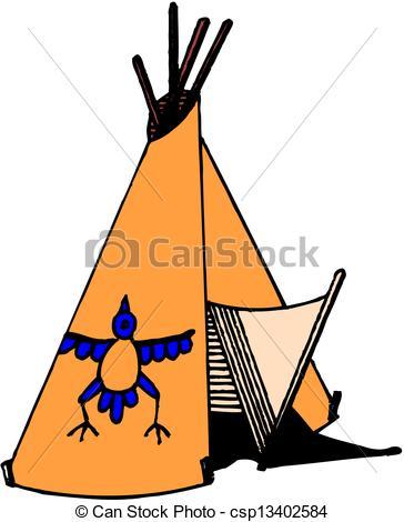 364x470 American Indian Wigwam Vector
