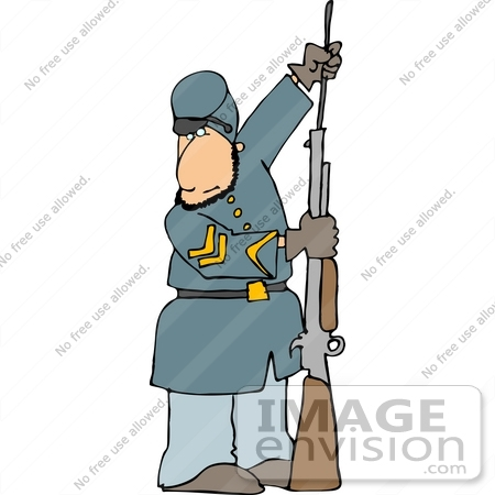 450x450 Clip Art American Civil War Soldier Preparing His Rifle For Battle