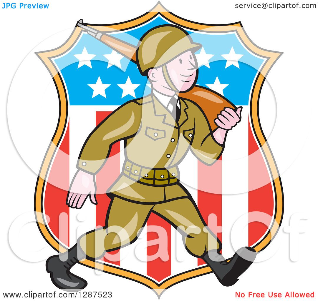 1080x1024 Clipart Of A Cartoon World War Ii Soldier Marching With A Rifle