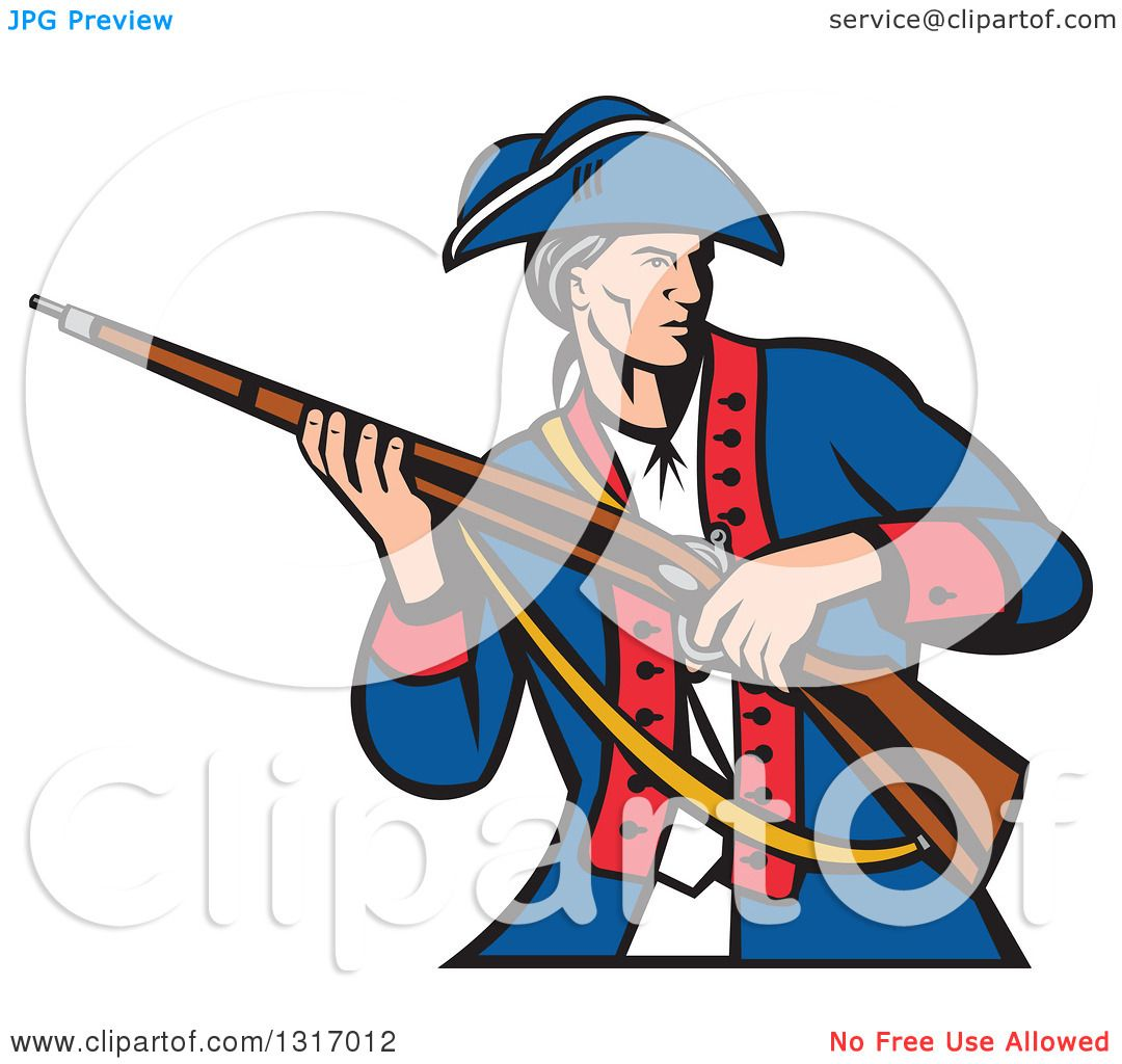 1080x1024 Clipart Of A Retro Cartoon American Patriot Militia Soldier