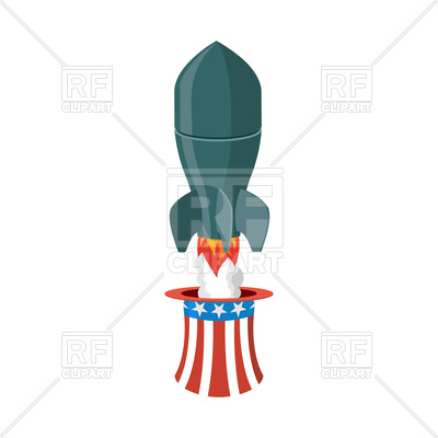 400x400 Missile Usa. Rocket And Uncle Sam Hat. American Air Bomb. Royalty
