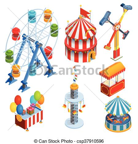 450x470 Amusement Park Isometric Decorative Icons Set With Ferris Eps