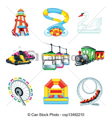 450x470 Attraction Icons Set Ii. Colorful Amusement Park Or Funfair