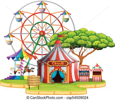 450x391 Illustration Of Amusement Park Scene