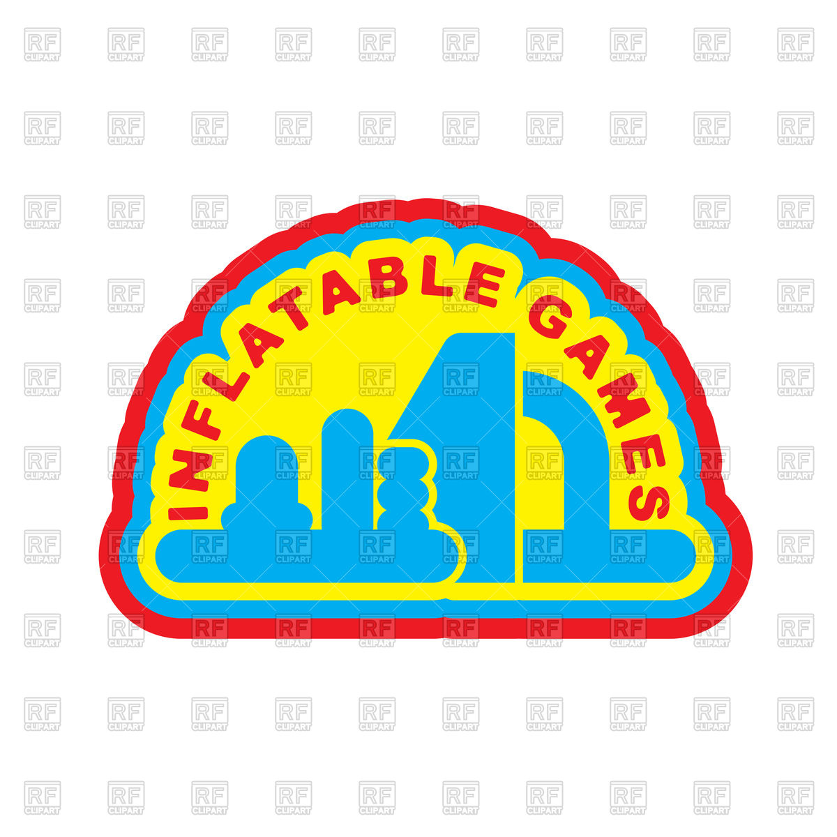 1200x1200 Inflatable Games. Emblem For Water Park Amusement Royalty Free