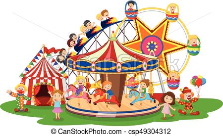 450x275 Vector Illustration Of Carton Amusement Park Vector Clip Art