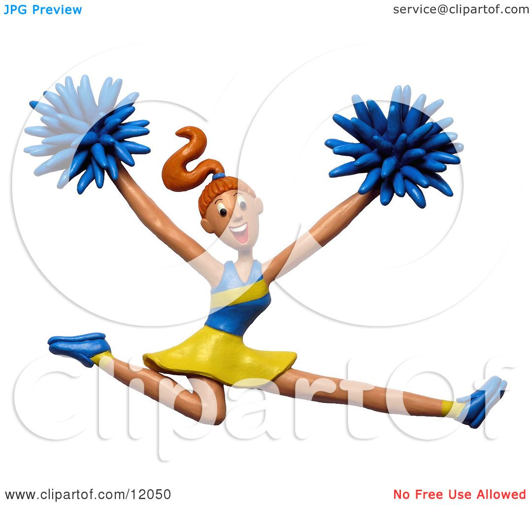 1080x1024 Clay Sculpture Clipart Energetic Leaping Cheerleader