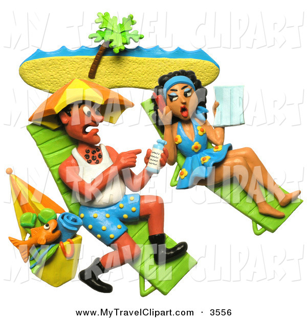 600x620 Clipart Of A 3d Couple Getting Sun Burnt On A Beach Together By