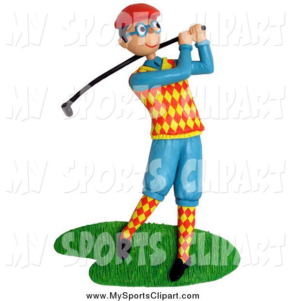 600x620 Sports Clip Art Of A 3d Dorky Golfer Swinging By Amy Vangsgard