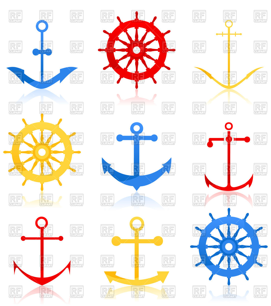 1062x1200 Set Of Anchors And Helms Icons Royalty Free Vector Clip Art Image