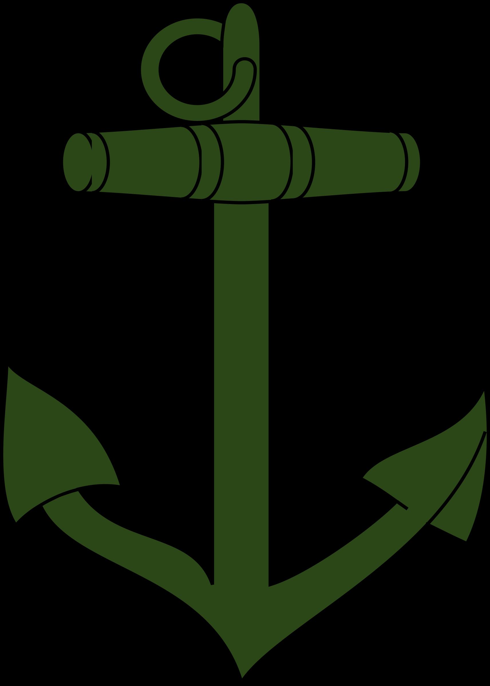 1712x2400 Green Anchor Vector Clipart Image