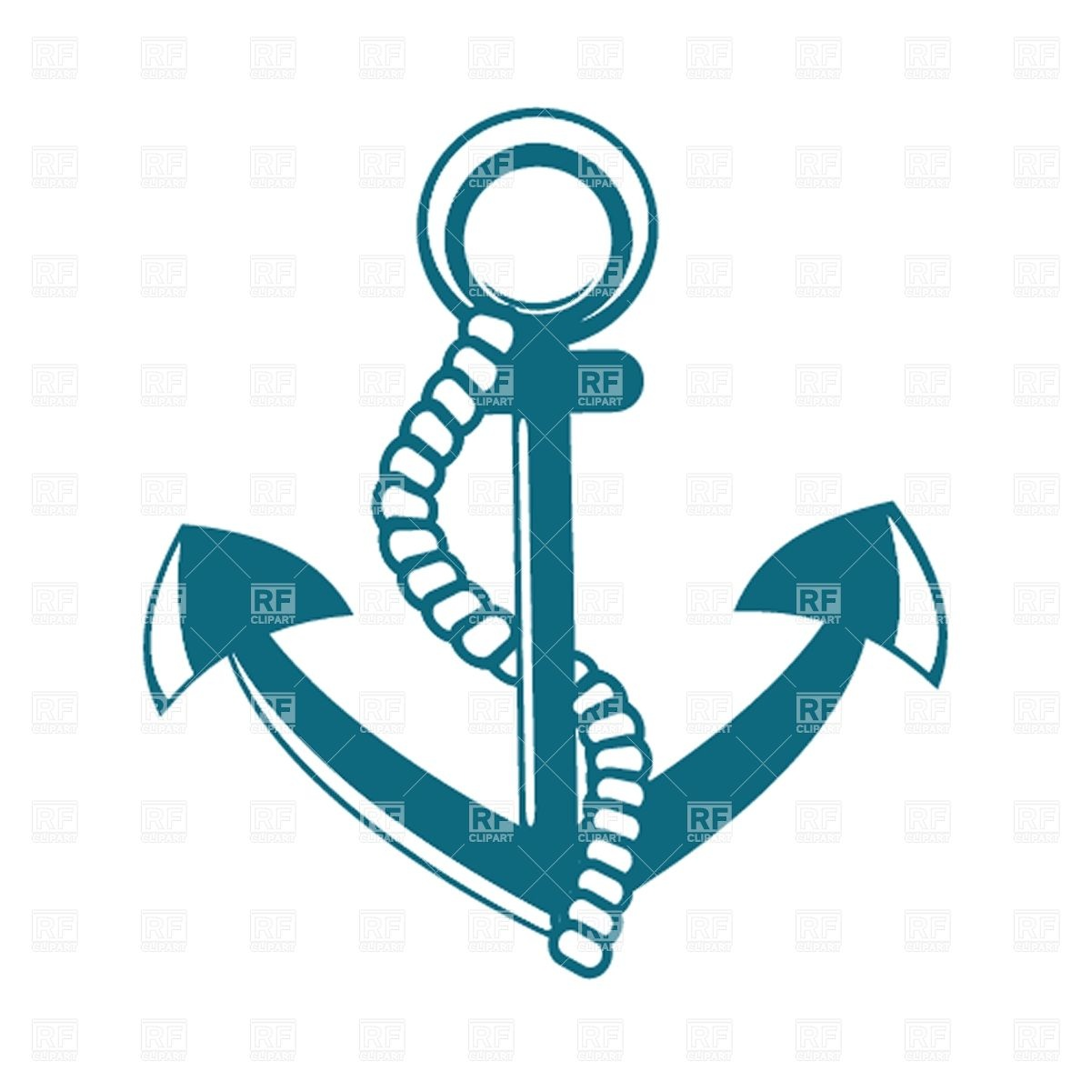 1200x1200 Anchor With Rope Royalty Free Vector Clip Art Image