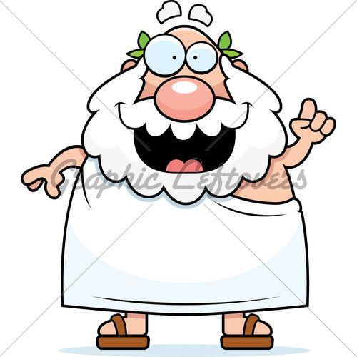 500x500 Cartoon Clipart Of A Black And White Happy Senior Greek Man