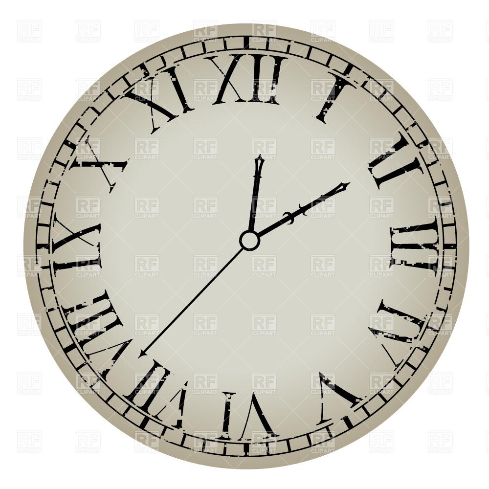 1000x1000 Ancient Clock With Roman Numerals Vector Image Vector Artwork