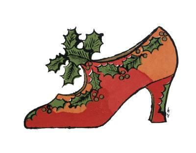 400x314 Shoe With Holly Art Print By Andy Warhol