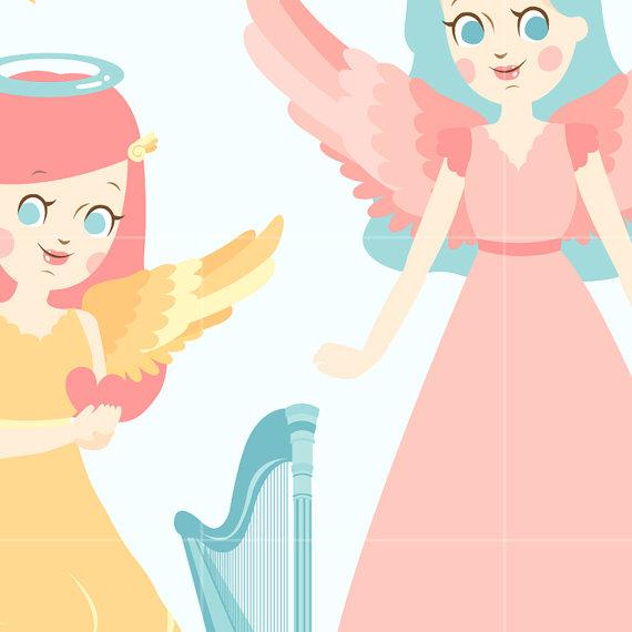 570x570 Angel Digital Vector Clip Art Heaven Clipart Design Illustration