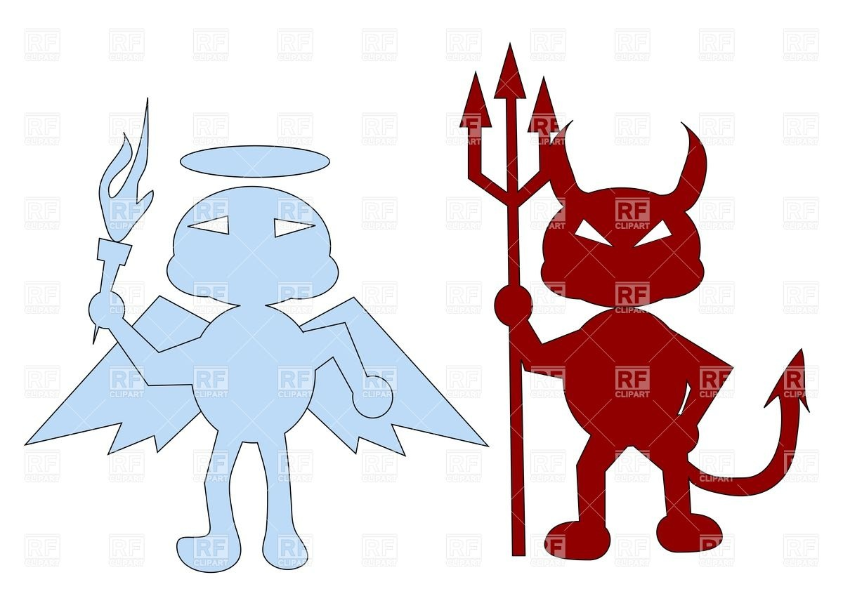 1200x849 Angel And A Red Devil Royalty Free Vector Clip Art Image