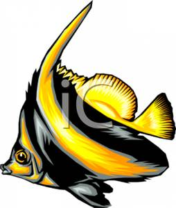 254x300 A Colorful Cartoon Of A Brillant Colored Angel Fish