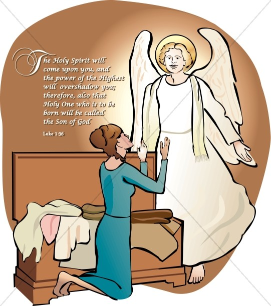 541x612 Mary And The Angel Gabriel Word Art Nativity Word Art