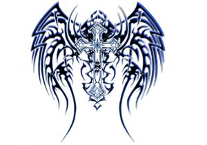 300x210 Cross With Tribal Wings Tribal Angel Wings Tattoo Designs