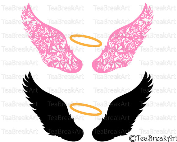 570x456 Zentangle Angel Wings V4 Cutting Files Svg Png Eps Dxf Clipart