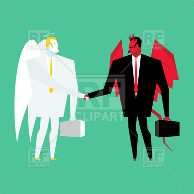 400x400 Devil And Angel Business Deal, Archangel And Demon Royalty Free