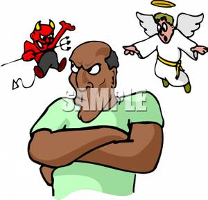 300x289 Royalty Free Clipart Image An Angel And Devil On A Man's Shoulder