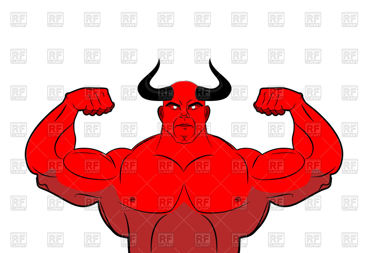 1200x827 Strong Demon With Horns. Powerful Red Devil. Royalty Free Vector