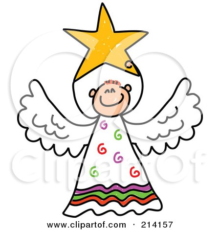 450x470 Clipart Stick Angel Girl With Pink Hair