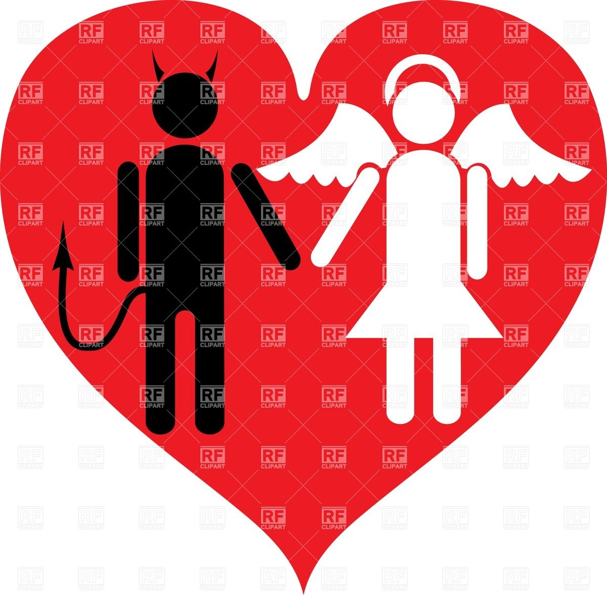 1200x1176 Devil And Angel In Love Royalty Free Vector Clip Art Image