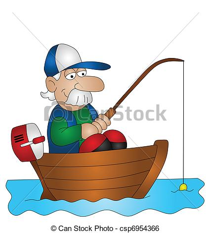427x470 Cartoon Angler Fishing From Boat Isolated On White Clip Art