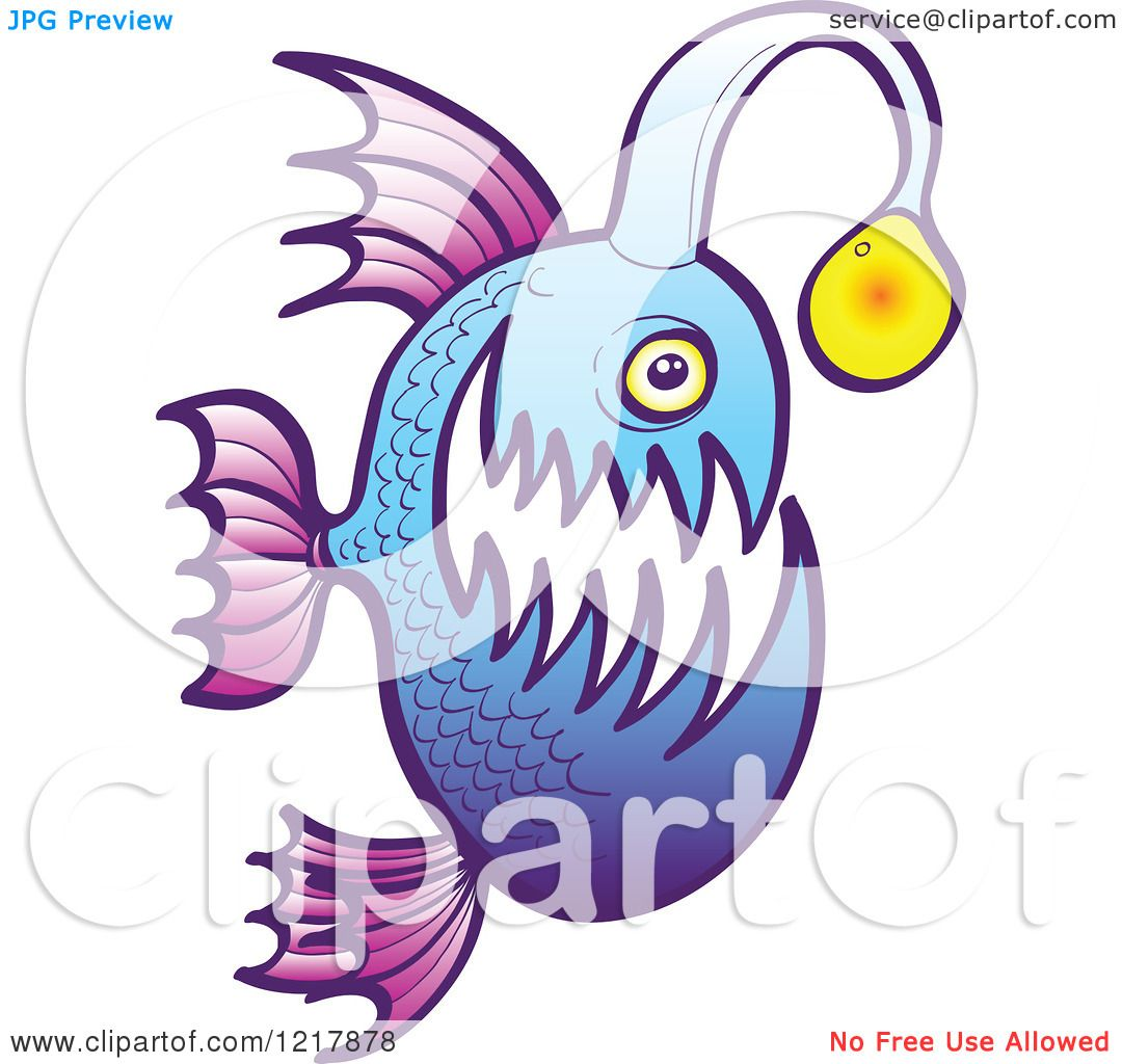 1080x1024 Clipart Of A Purple And Blue Angler Fish