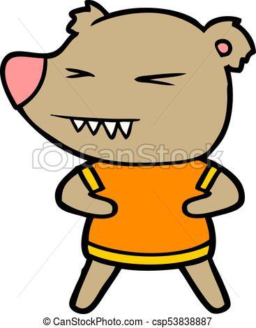 367x470 Angry Bear Cartoon In T Shirt Vector